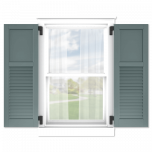 personalize your Adorned Openings 40/60 flat panel louver combination shutters by size, color, quantity and more