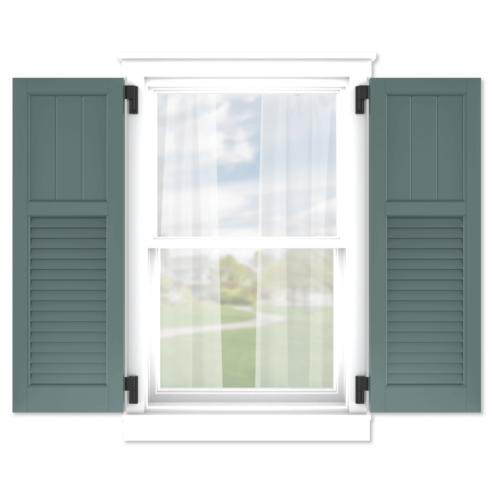 personalize your Adorned Openings 40/60 framed board and batten louver combination shutters by size, color, quantity and more