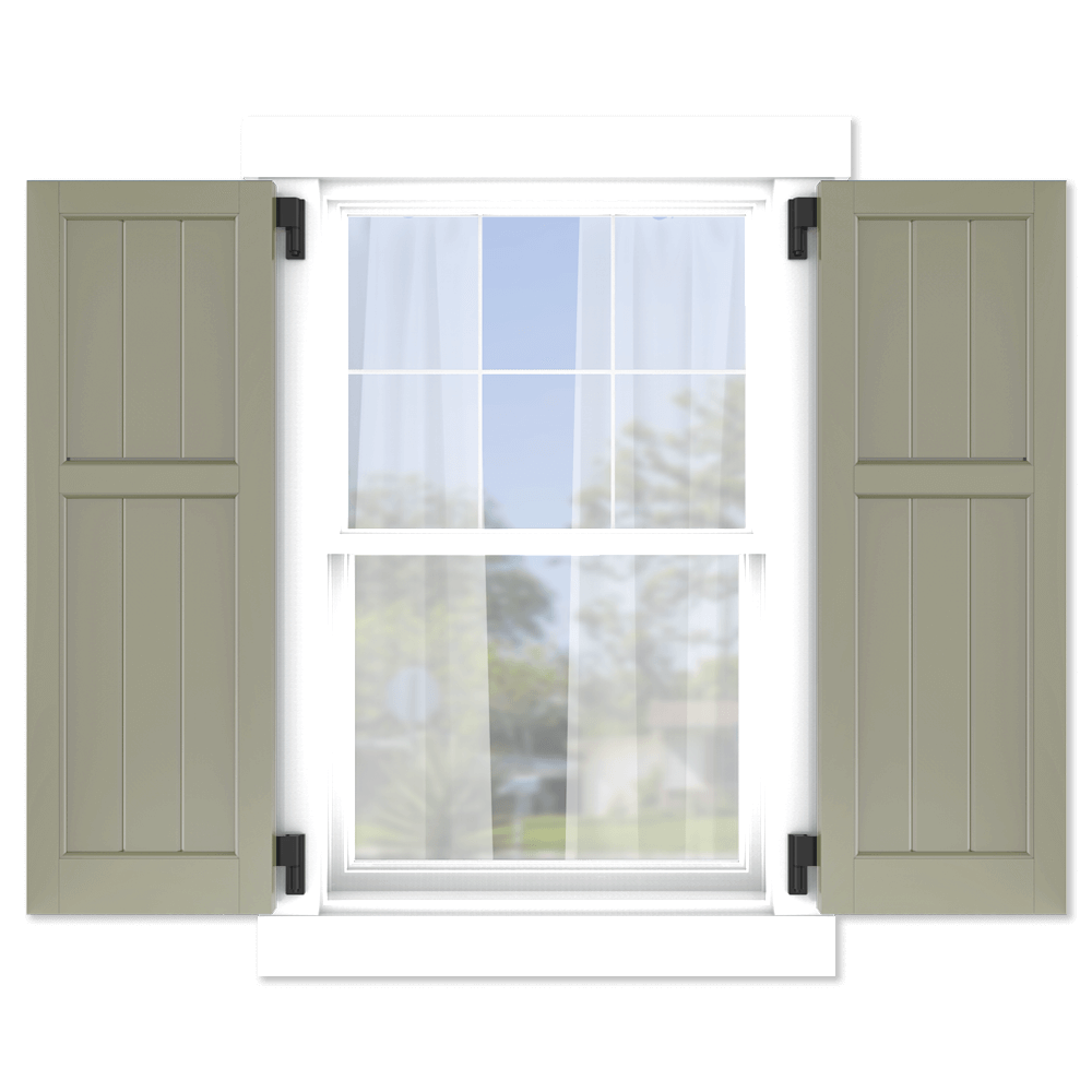personalize your Adorned Openings 40/60 framed board and batten shutters by size, color, quantity and more