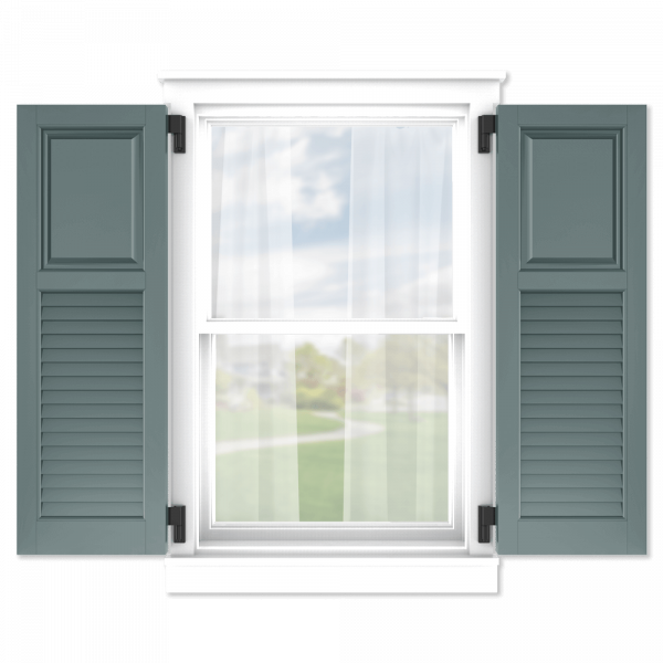 personalize your Adorned Openings 40/60 raised panel louver combination shutters by size, color, quantity and more