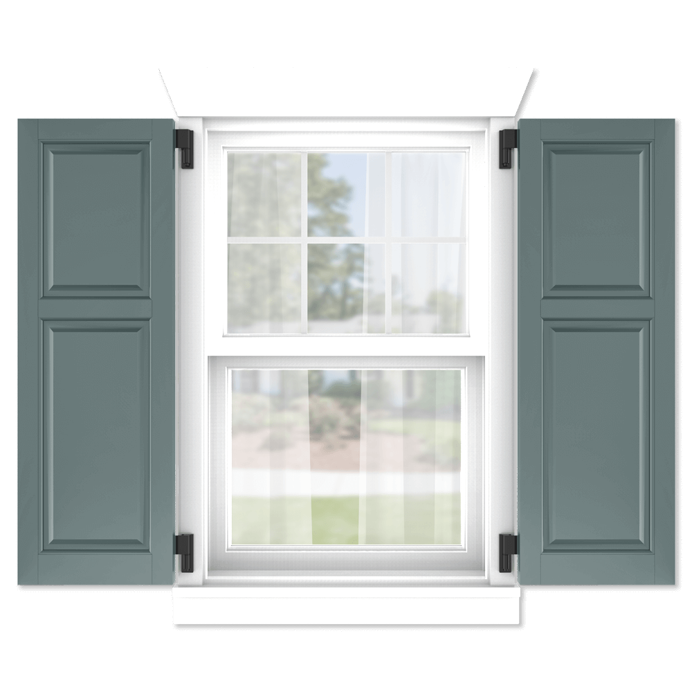 personalize your Adorned Openings 40/60 raised panel shutters by size, color, quantity and more