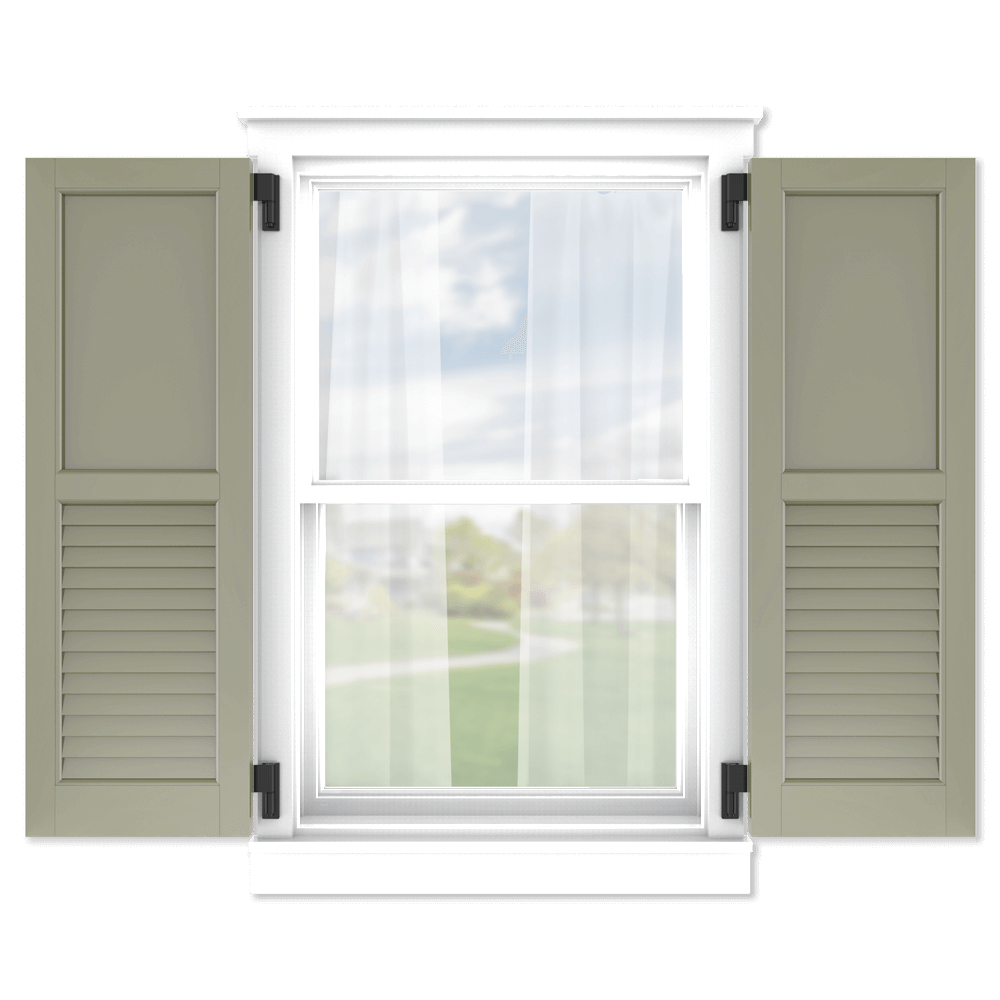 personalize your Adorned Openings 50/50 flat panel louver combination shutters by size, color, quantity and more