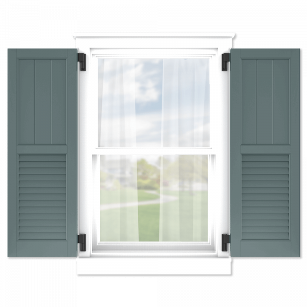 personalize your Adorned Openings 50/50 framed board and batten louver combination shutters by size, color, quantity and more