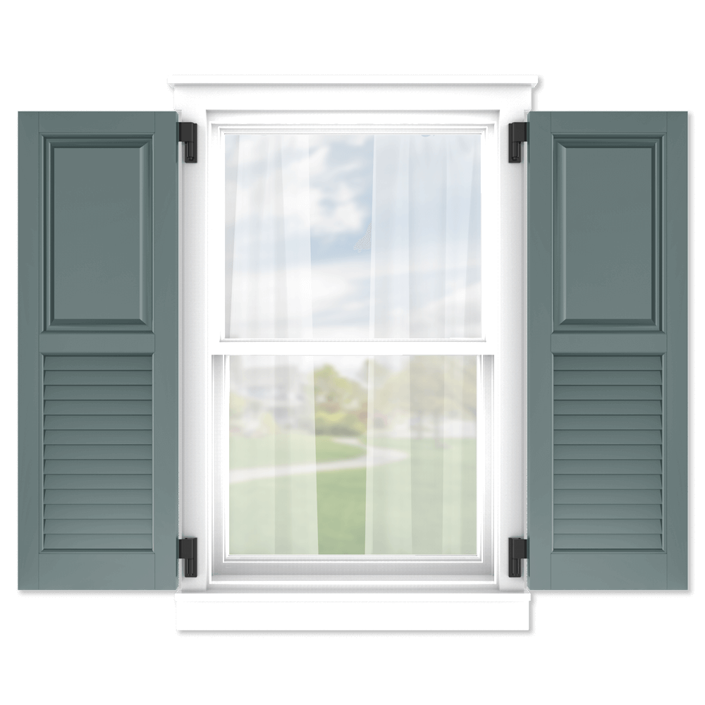 personalize your Adorned Openings 50/50 raised panel louver combination shutters by size, color, quantity and more