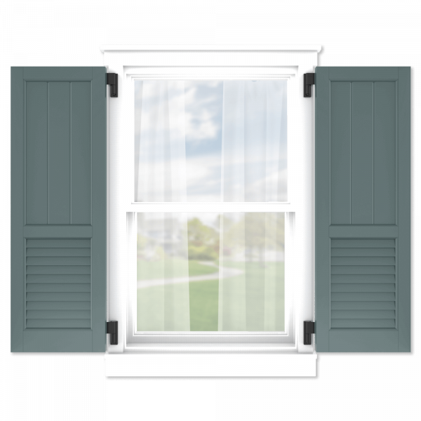 personalize your Adorned Openings 60/40 framed board and batten louver combination shutters by size, color, quantity and more