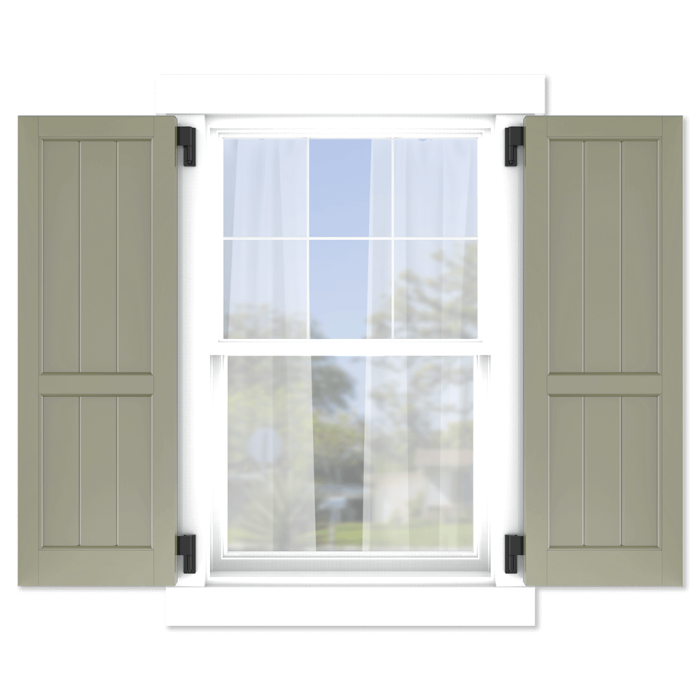 personalize your Adorned Openings 60/40 framed board and batten shutters by size, color, quantity and more