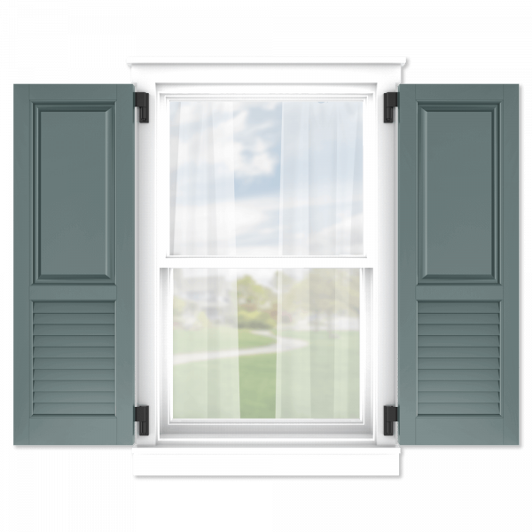 personalize your Adorned Openings 60/40 raised panel louver combination shutters by size, color, quantity and more
