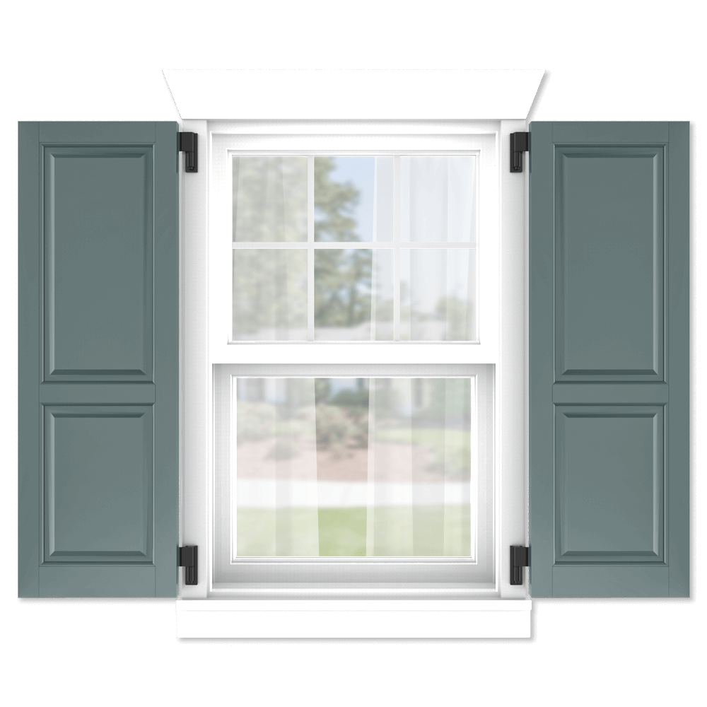 personalize your Adorned Openings 60/40 raised panel shutters by size, color, quantity and more