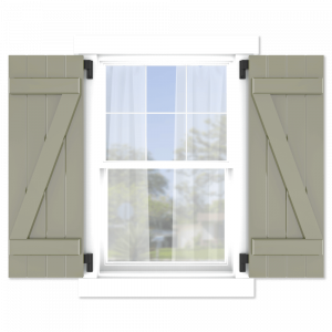 personalize your Adorned Openings z brace board and batten shutters by size, color, quantity and more