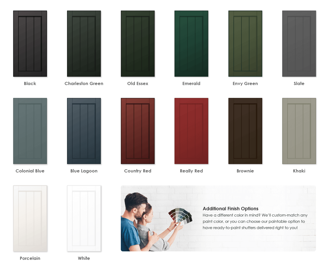 Adorned Openings offers a variety of wonderful paint color options for framed board and batten shutters