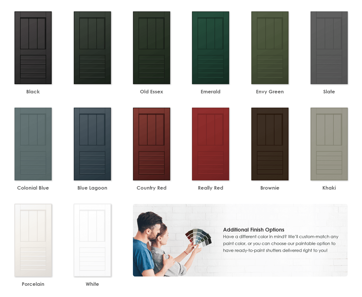 Adorned Openings offers a variety of wonderful paint color options for framed board and batten louver combination shutters