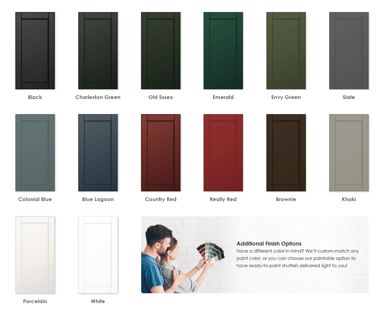 Adorned Openings offers a variety of wonderful paint color options for flat panel shutters