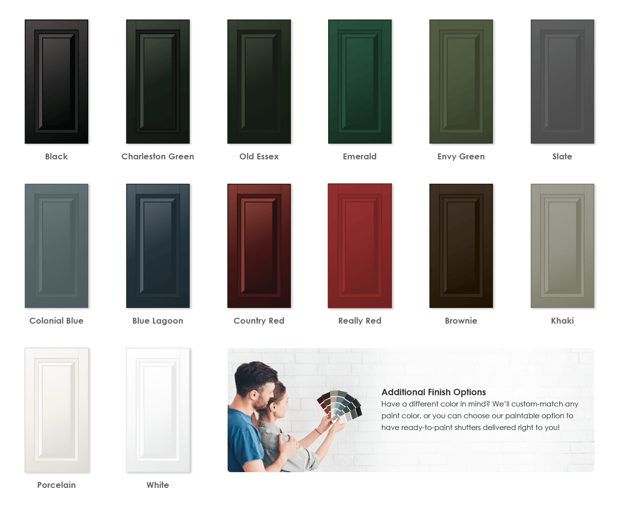Adorned Openings offers a variety of wonderful paint color options for raised panel shutters