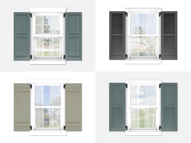 4 styles of Adorned Openings exterior shutters