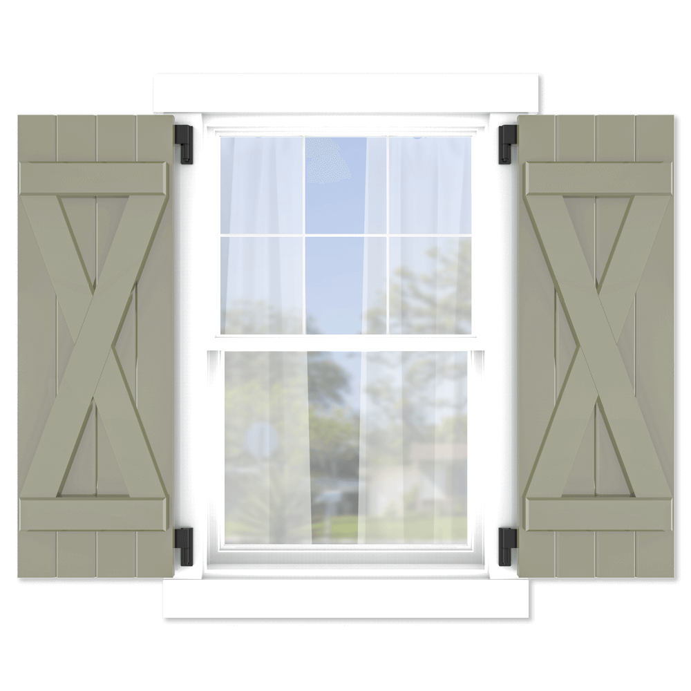 personalize your Adorned Openings x brace board and batten shutters by size, color, quantity and more