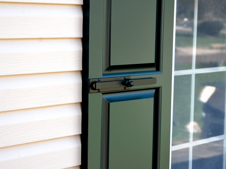 customize your Adorned Openings composite wood exterior shutters with functional shutter hardware