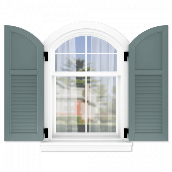 personalize your Adorned Openings arch top 40/60 flat panel louver combination shutters by size, color, quantity and more