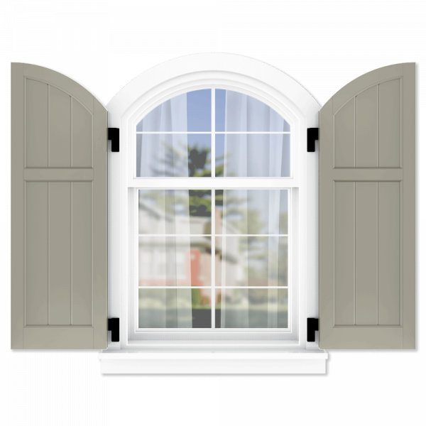 personalize your Adorned Openings arch top 40/60 framed board and batten shutters by size, color, quantity and more