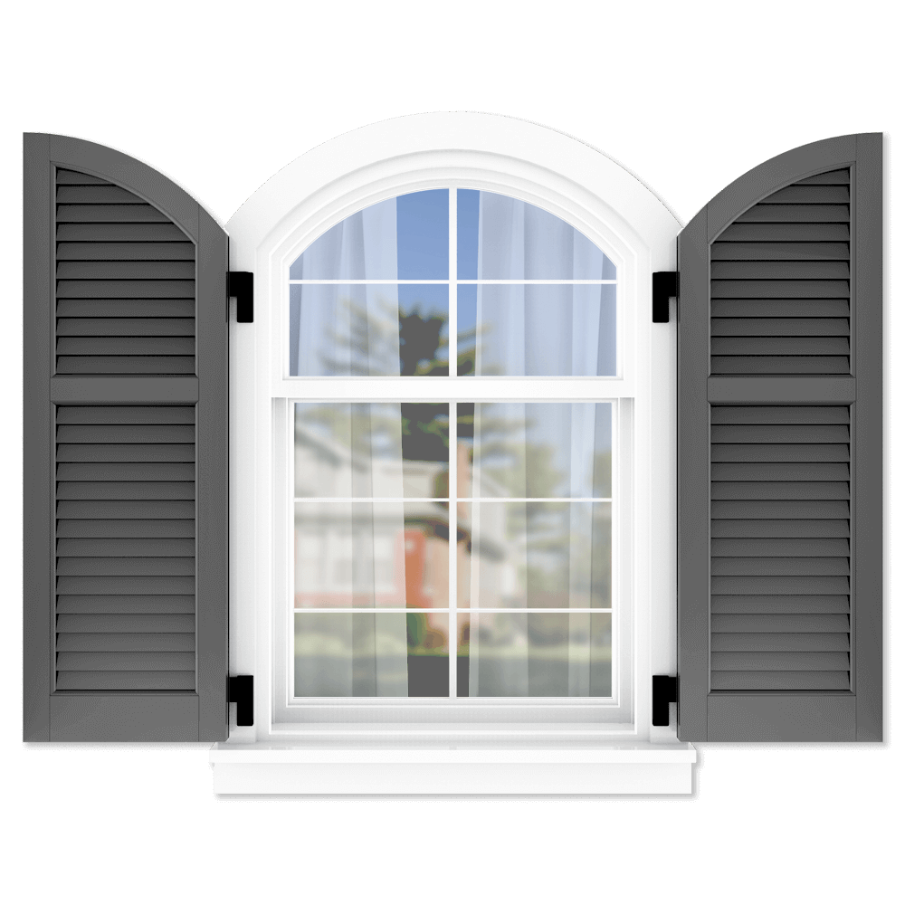 personalize your Adorned Openings arch top 40/60 louver shutters by size, color, quantity and more