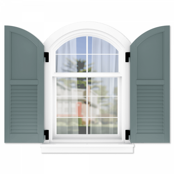 personalize your Adorned Openings arch top 50/50 flat panel louver combination shutters by size, color, quantity and more