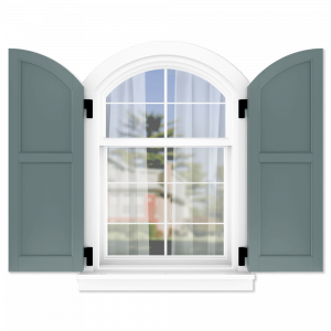 personalize your Adorned Openings arch top 50/50 flat panel shutters by size, color, quantity and more