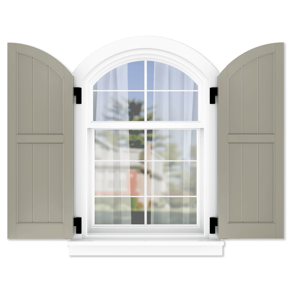 personalize your Adorned Openings arch top 50/50 framed board and batten shutters by size, color, quantity and more