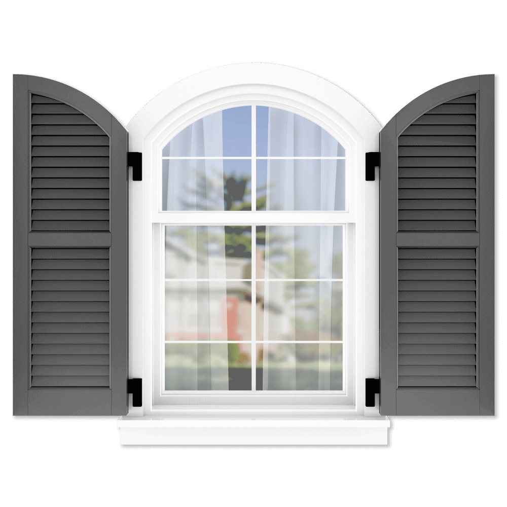 personalize your Adorned Openings arch top 50/50 louver shutters by size, color, quantity and more