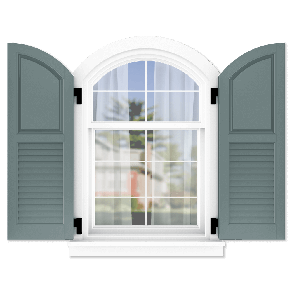 personalize your Adorned Openings arch top 50/50 raised panel louver combination shutters by size, color, quantity and more