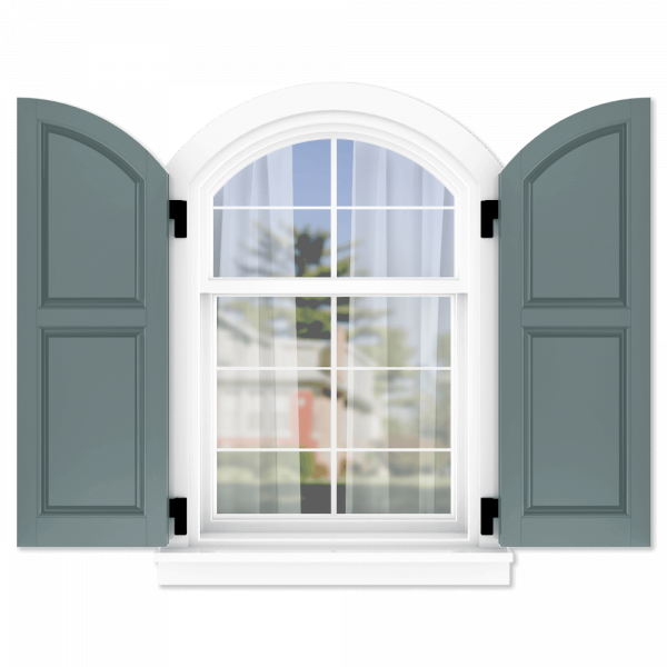 personalize your Adorned Openings 50/50 raised panel arch top shutters by size, color, quantity and more.