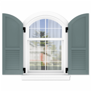 personalize your Adorned Openings arch top 60/40 flat panel louver combination shutters by size, color, quantity and more