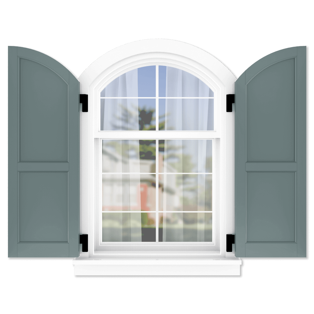 personalize your Adorned Openings arch top 60/40 flat panel shutters by size, color, quantity and more