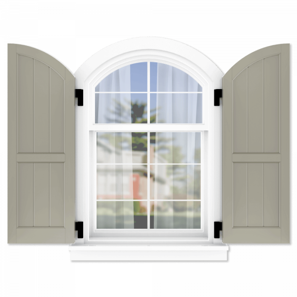personalize your Adorned Openings arch top 60/40 framed board and batten shutters by size, color, quantity and more