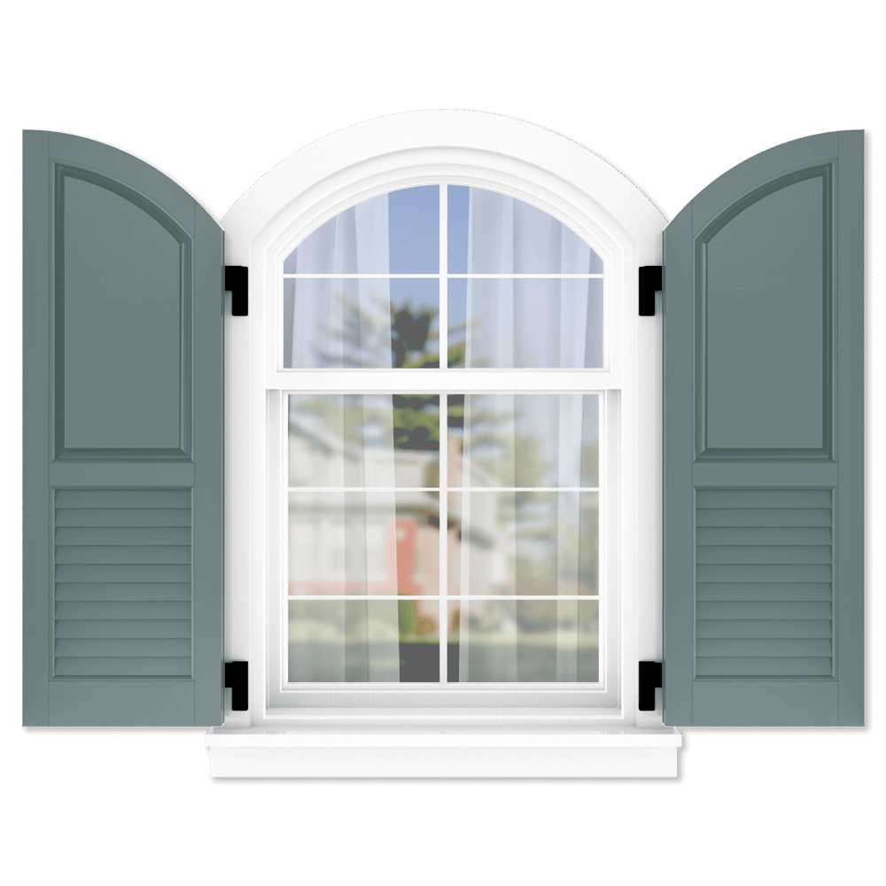 personalize your Adorned Openings arch top 60/40 raised panel louver combination shutters by size, color, quantity and more