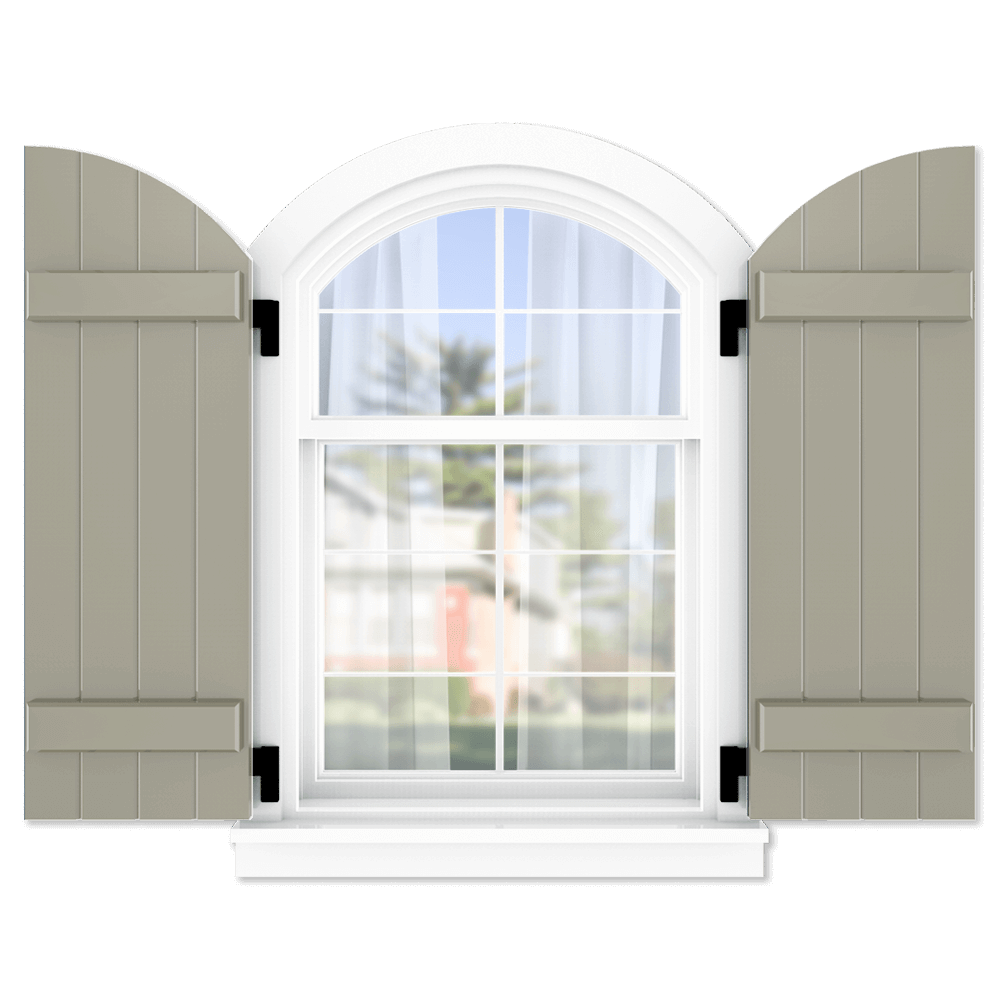 personalize your Adorned Openings arch top board and batten shutters by size, color, quantity and more