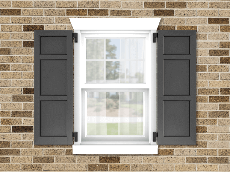 Adorned Openings exterior shutters are a great way to add color to your tan home