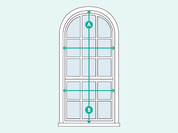 use Adorned Openings' measuring for arch top shutters guide to accurately record each pair of shutters per window