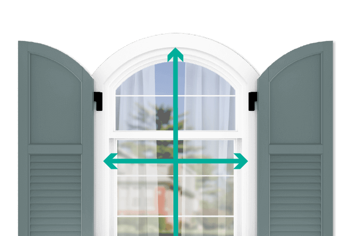learn how to quickly measure your windows for arch top flat panel louver combination shutters