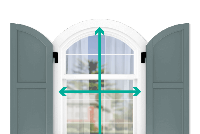 learn how to quickly measure your windows for arch top flat panel shutters