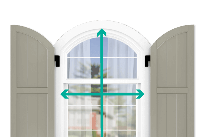 learn how to quickly measure your windows for arch top framed board and batten shutters