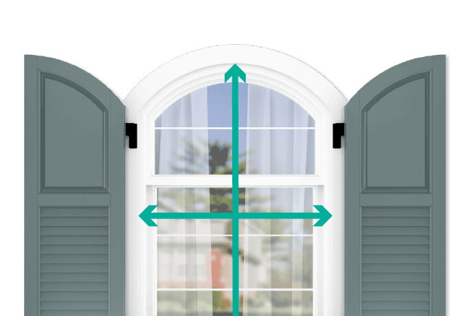 learn how to quickly measure your windows for arch top raised panel louver combination shutters