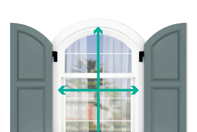 learn how to quickly measure your windows for arch top raised panel shutters