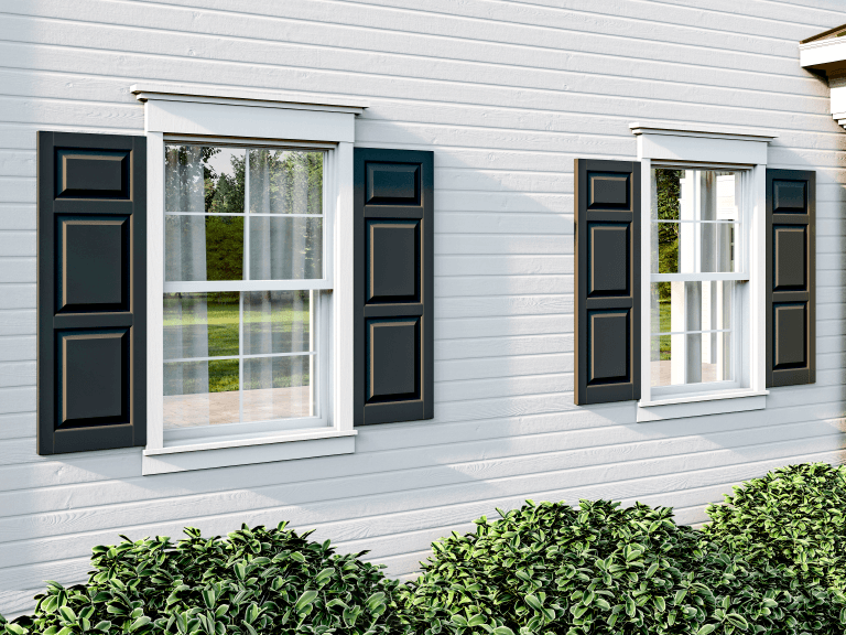 composite wood exterior shutters in a raised panel style