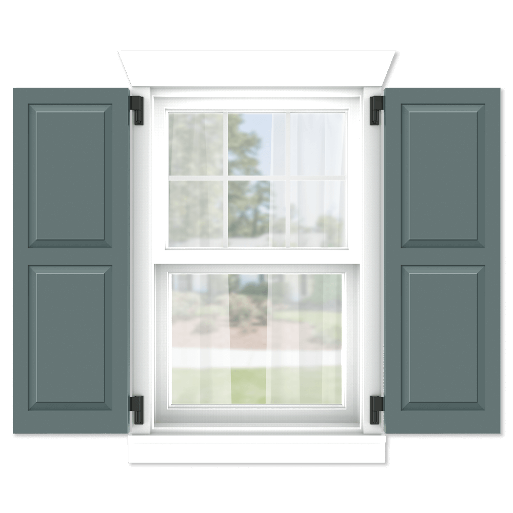 personalize your Adorned Openings 50/50 shaker panel shutters by size, color, quantity and more