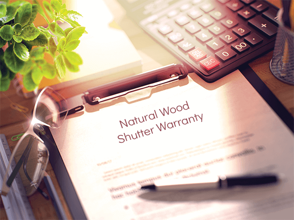 Adorned Openings' natural wood shutters come standard with warranties for added peace of mind