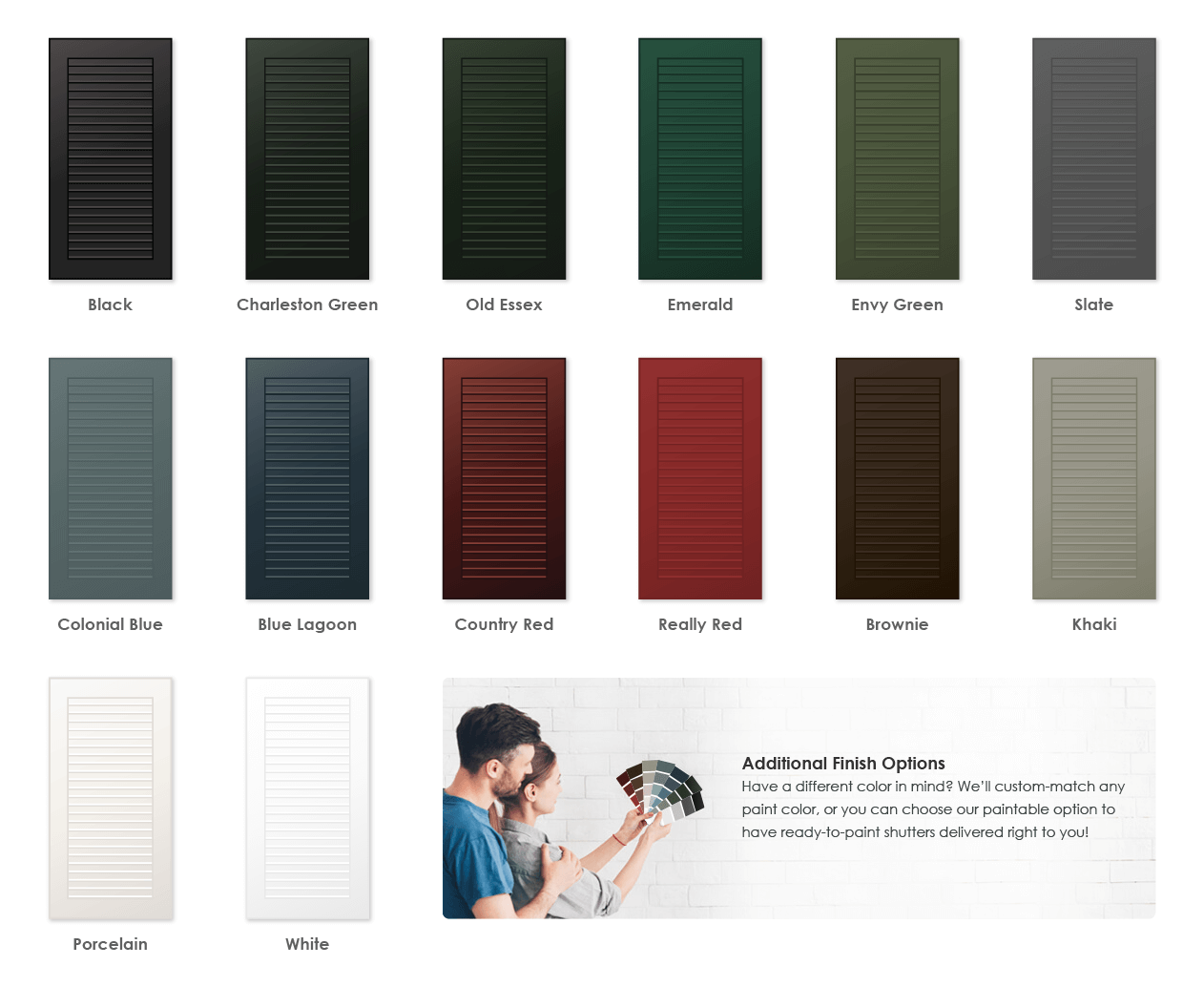 Adorned Openings offers a variety of wonderful paint color options for louver shutters